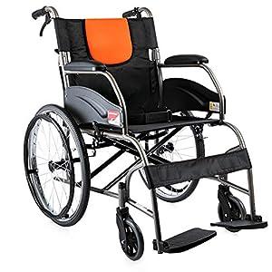 EMOGA Wheelchair Folding Lightweight With Full-Length Arms And Elevating Leg Rests,46Cm Seat,Handbrake Transport Wheelchair
