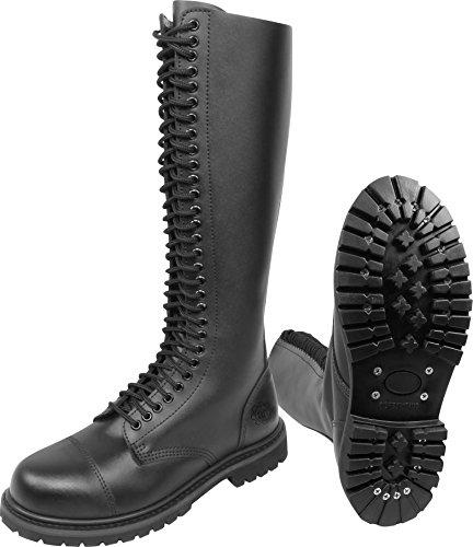 Gear Walk Springerstiefel 10, 14 oder 30 Loch mit Stahlkappe und echtem Leder Farbe Schwarz/30-Loch Größe 9 -
