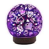 Modaworld Ball Stil Luftbefeuchter Ultraschall Leise Glas Essential Oil Diffusor Air Purifier, 8 Farben Aroma Diffuser Duftlampe