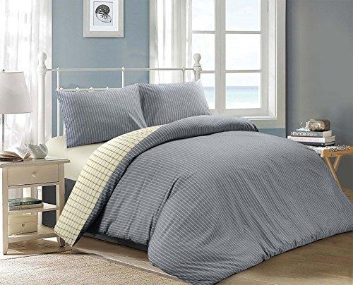 Bettbezugsset im beidseitigen Jakarta-Design, 100 % Baumwolle, Chambray Blue Cream (as Image), Doppelbett (Quilt Stripe Cotton Fabric)