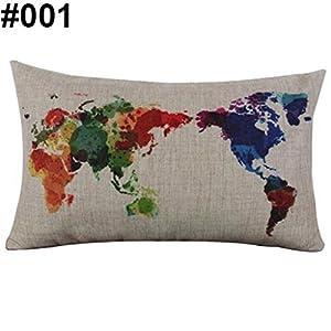 Mapa del mundo Impresión de pájaros lino Rectangular manta funda de almohada Funda de cojín (Amesii