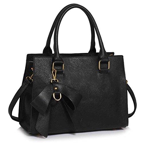LeahWard , Damen Schultertasche schwarz BLACK BOW CHARM BAG
