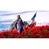 Athah Designs Wall Poster 13*19 Inches Matte Finish Battlefield 1 Battlefield Soldier Poppy Red Flower French Flag Gas Mask