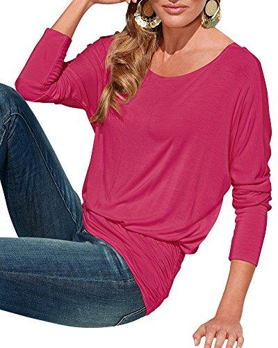 Femmes Casual Hauts Vrac Lâche Chemise Couleur Unie Col Rond Manches Longues T-shirt Top Blouse Shirt Tops Rose Rouge