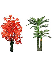 Sofix 5 Ft Big Artificial Tree Green Flower Plant - Natural Looking Plants (Pack of 2)