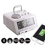 Homtime C12-PRO réveil avec haut-parleur Bluetooth, double chargeur USB, radio FM, mains libres, gradable de 4 niveaux, connecteur de foudre (Blanc)
