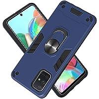 FAWUMAN Funda para Samsung Galaxy A71 Soft TPU + Duro PC Doble Parachoques Cubierta a Anillo Soporte con Soporte y Carcasa Desmontable, Funda Protectora Serie Armadura (Azul Real)