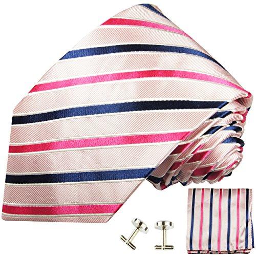 Cravate homme rose bleu rayée ensemble de cravate 3 Pièces ( longueur 165cm )