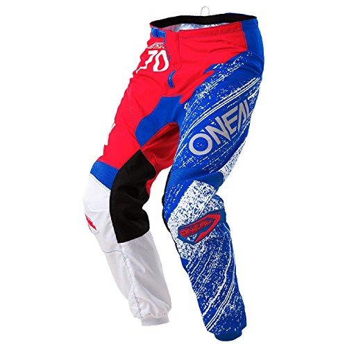 O'Neal Element Burnout MX Motocross Hose Pant Enduro Offroad Motorrad Quad Cross Erwachsene, 0108, Farbe Rot Blau, Größe 32