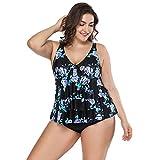 FeelinGirl Bikini Tankini Bademode Badeanzug Damen Plus Size Blumenmuster Swimsuit