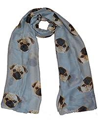 Nice Maxi scarf Pug Dog design scarf grey