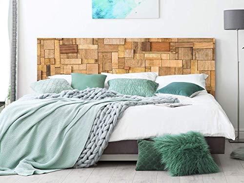 Cabecero Cama PVC Rectángulos de Madera 135x60cm   Disponible en Varias Medidas   Cabecero Ligero, Elegante, Resistente y Económico