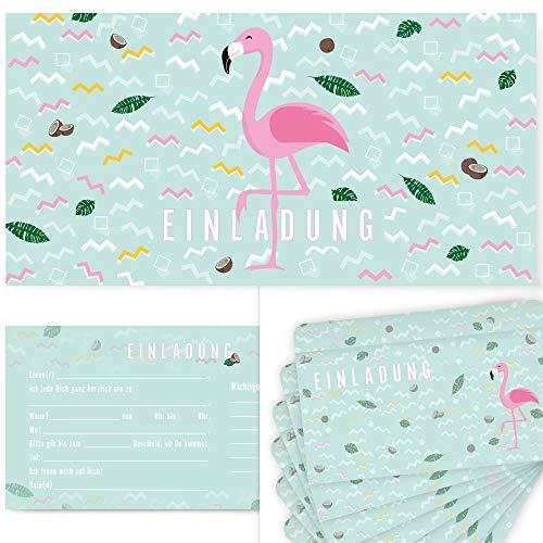 Postkartenschmiede 12 Flamingo Einladungskarten Geburtstag Kinder Mädchen für Kindergeburtstag, Flamingo-Party, Einladungskarten mit Flamingos für ()