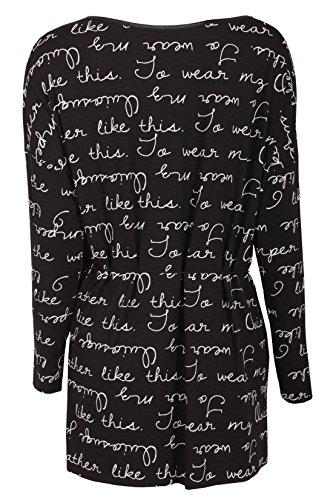 W & D Fashion Damen Langarmshirt Allover Letter Print Schmuckgürtel Schwarz