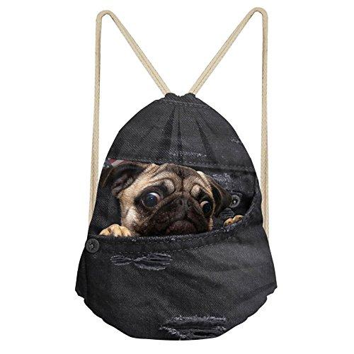 Showudesigns Denim Animal schwarz Kordelzug Tasche Outdoor Reisen Rucksack für Kinder Geschenk M Dog -