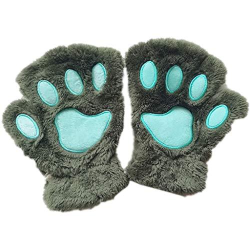 chenpaif Frauen Mädchen Schöne Katze Pfote Klaue Dicke Halb Fingerlose Handschuhe Fluffy Plüsch Handschuh Armee Grün