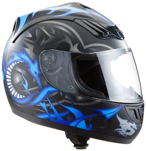 *Protectwear H510-11BL-S Motorradhelm, Integralhelm mit Drachendesign, Größe S, Schwarz/Silber/Blau*