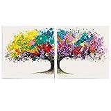 Bilder-Set auf Leinwand Motiv Magic Tree Acryl bunt-weiß 2 Stück je 80 x 80 cm