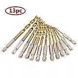 ebshow 13Teile HSS 1/4HEX Shank Twist-Bohrer Bit Set, Spiralbohrer Set mit Sechskant-Schaft Set Bohren Ersatz Holz Holzbohrer Micro-Bohrer 1,5–6,5mm