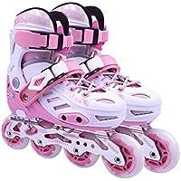 ZCRFY Patines Patines para Niños Adultos Patines De Ruedas Niños Zapatos De Flores Planos Patines En Línea Individuales,Pink-L