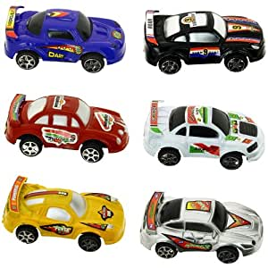 Promobo -Set Jouet Enfant Coffret Tube 6 Petite Voiture Course Rallye