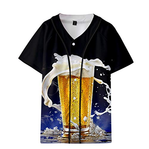 Herren Sommer T-Shirts Beer Festival New Style 3D-Druck Westentop Casual Kurzarm Crew Neck Tee Basic Shirt Sweatshirts -