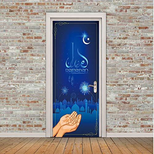 Fqz93in Aufkleber Der Tür 3D Ranmanda In Der Dunkelheit Islamischen Muslim Wandbild Kunst Removable Kalligraphie PVC Aufkleber Tür Wandaufkleber Ausgangsdekor