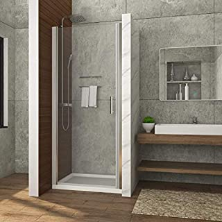 Airby 700 x 700 mm Hinged Frameless Pivot Shower Enclosure Reversible Swing Shower Cubicle Door + Tray
