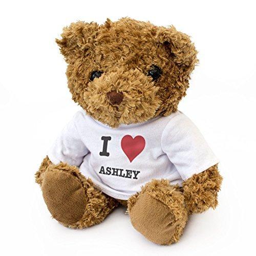 London Teddy Bears Oso de Peluche con Texto en inglés I Love Ashley, Bonito y Suave, Regalo de cumpleaños, Navidad, San Valentín