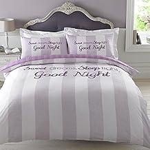 Dreamscene–Juego de cama de funda de edredón con funda de almohada, poliéster, Sweet Dreams rosa lila, 230x 220cm