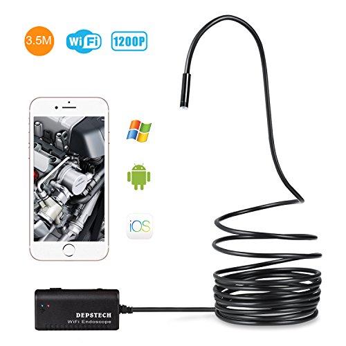 Depstech Kabelloses Endoskop WiFi Endoskopkamera wasserdichte Inspektionskamera mit 2,0 Megapixel 720P HD Halbsteife Kabel Boreskope Schlange kamera für Android und IOS Smartphone, iPhone, Samsung, Tablet (Schwarz-3,5M)