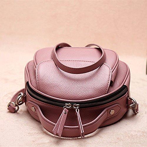 Testa rotonda strato Sacchetto Di Cuoio Sella pack borsa a tracolla messenger bag borsetta,Rosa Rosa