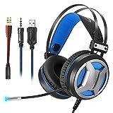 Neueste Gaming Headset PC-Gaming Kopfhörer für PS4Xbox One, 3,5mm 4D Super Bass Stereo für Laptop, Mac, iPad, Mac Switch Nintendo Switch (Audio) LED-Lichter & geräuschminderndes Mikrofon (schwarz + blau)
