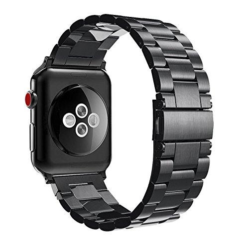 Fintie Correa para Apple Watch - 44mm/42mm Pulsera de Repuesto Sólido de Acero Inoxidable para 44mm y 42mm Apple Watch Serie 4 Serie 3 Serie 2 Series 1 Todos los Modelos, Negro