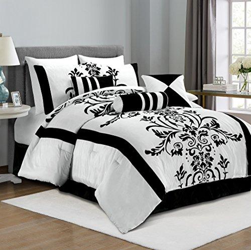 chezmoi Collection 7-teilig weiß mit schwarz floral Beflockung Tröster Set bed-in-a-bag für California King Size Betten, schwarz / weiß, King Size