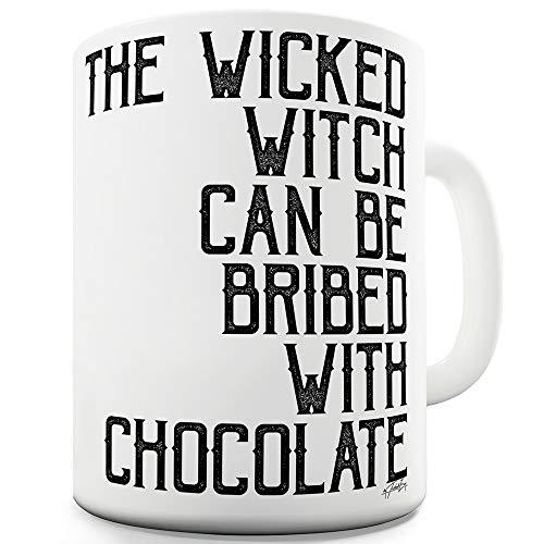 TWISTED ENVY Keramik-Tasse mit Aufschrift The Wicked Hexe Can Be Bribed 15 OZ weiß