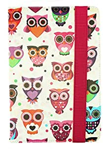 Emartbuy® Universal Range Multi Owls Multi Angle Executive Folio Wallet Case Cover For 3D Life+Quad Core 7 Inch Tablet
