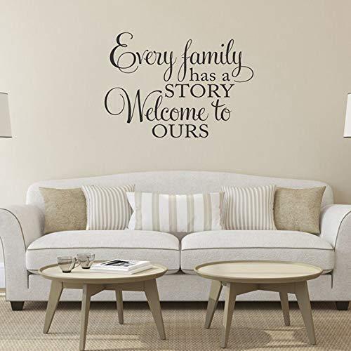 SLQUIET Jede Familie hat eine Geschichte Willkommen zu unseren Vinyl-Wandaufklebern Startseite Vinyl Schriftzug Wandkunst Karte Wohnkultur Wohnzimmer Haus und Garten Wandaufkleber 12 hellblau 80X57 CM -