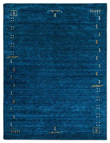 Morgenland Designer Gabbeh Teppich FENTH 400 x 300 cm Blau Einfarbig Modern Handgearbeitet 100% Schurwolle Weich Bordüre Loribaft Optik Für Wohnzimmer Esszimmer Flur Küche - In 6 versch. Farben, Viele Größen -