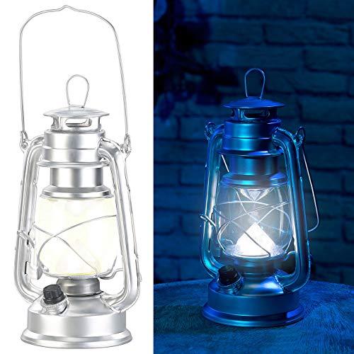 Lunartec Petroleum Sturmlaterne: Dimmbare LED-Sturmlampe, Batterie, 200 lm, 3W, tageslichtweiß, silbern (Dekolaternen)