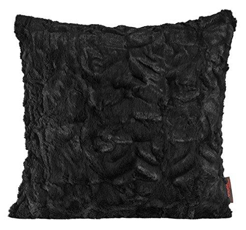 Magma Kissen Fluffy Plüsch Felloptik Kuschelkissen ca. 45x45cm (schwarz)