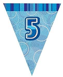 Unique Party Banderines de 5 cumpleaños Color azul edad 5 92145