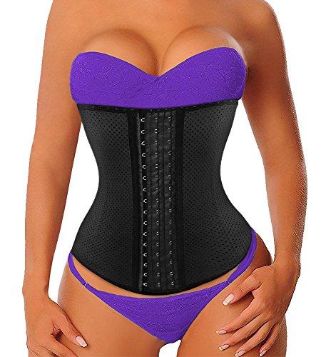 Yianna lattice corsetto dimagrante traspirante bustino modellante stringivita corpetto nero high waist trainer body shaper con 9 ossa d'acciaio,uk-ya110588-black-3xl