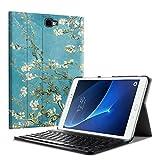 Fintie Bluetooth Tastatur Hülle für Samsung Galaxy Tab A 10,1 Zoll T580N / T585N Tablet - Ultradünn leicht Schutzhülle mit magnetisch Abnehmbarer Drahtloser Deutscher Bluetooth Tastatur, Mandelblüten