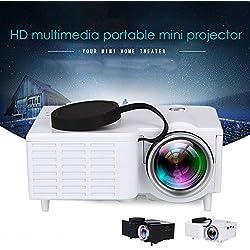 Anyutai (US Plug) LCD Mini Projecteur, Portable Mini HD Multimédia LED Projecteur Cinéma Maison HDMI AV TF USB avec Télécommande