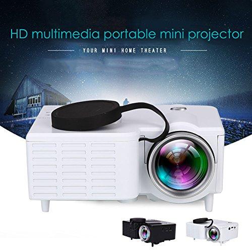 Anyutai (US-Stecker) LCD-Mini-Projektor, beweglicher Mini-HD Multimedia-LED-Projektor Heimkino HDMI AV TF USB mit Fernbedienung