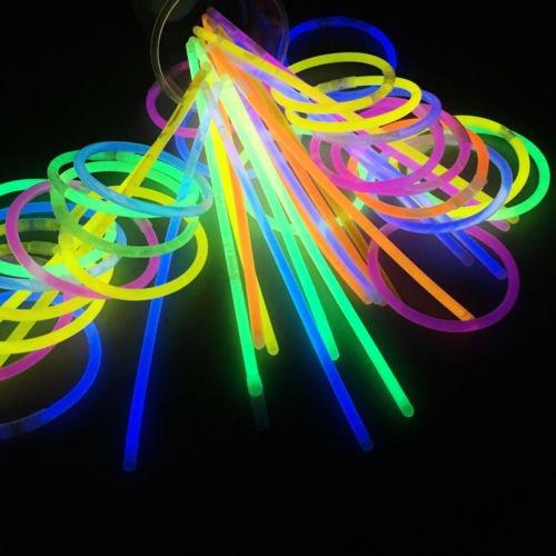 Unbekannt 100Pcs Glow Sticks Armbänder Ketten Fluoreszierendes Neon Partyzubehör Weihnachts Geschenk