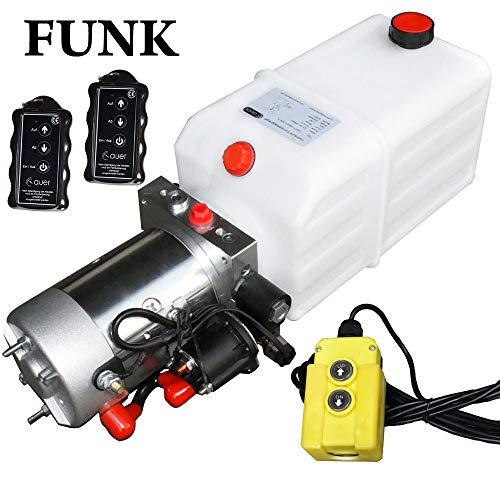 ydraulikpumpe mit 7 Liter Tank und Kabelfernbedienung + Funkfernbedienung, 12V 180 bar 2000 Watt (2 x Funkfernbedienung) ()
