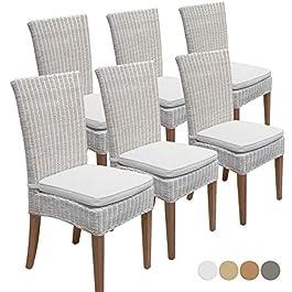 Casamia Cardine Lot de 6 chaises de salle à manger en rotin Blanc