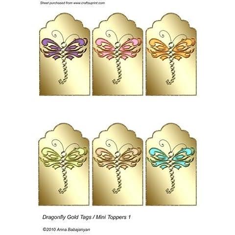 Etiquetas de libélulas y dorado/mini obleas decorativas para cupcakes por Anna Babajanyan